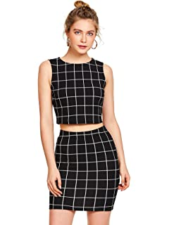 e9f6b22aa Floerns Women's Sleeveless Plaid Print Two Pieces Bodycon Skirt and Top Set