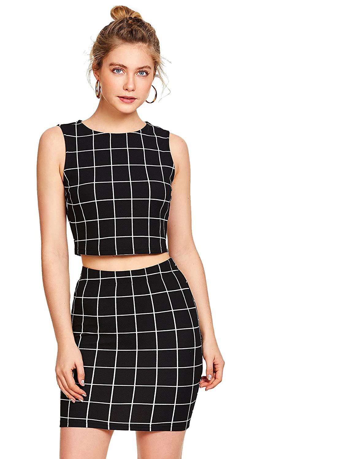 0c8fd01f05 Amazon.com: Floerns Women's Sleeveless Plaid Print Two Pieces Bodycon Skirt  and Top Set: Clothing