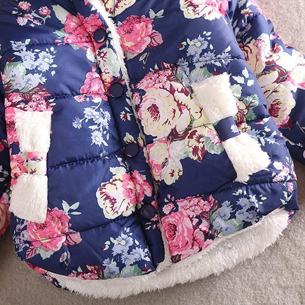 Bleu L//5-6ans Baywell Manteaux /à Motifs Foraux Outwear Vestes Blousons B/éb/é Fille