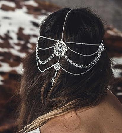 fxmimior boda novia diosa Bohemian Boho de la Reina cabeza cadena pelo joyas para la cabeza Bollywood novia Glam: Amazon.es: Belleza