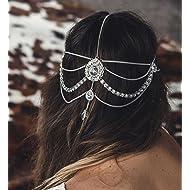 01224664593 FXmimior Head Chain Bridal Women Vintage Bohemian Crystal Halloween  Headpiece Wedding Hair Jewelry (silver)