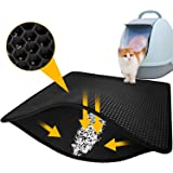"LeToo Black Cat Litter Mat Trapping for Litter Box, XL Jumbo 30""×24"", Urine & Water proof, Honeycomb Double Layer Anti Tracking Kitty Mats, No Phthalate, Washable Easy Clean, Scatter Control"