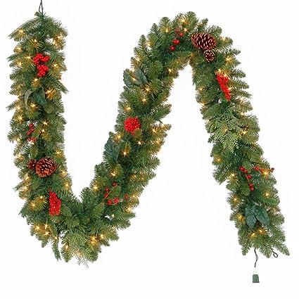 martha stewart living 9 ft pre lit artificial winslow fir christmas garland with 190
