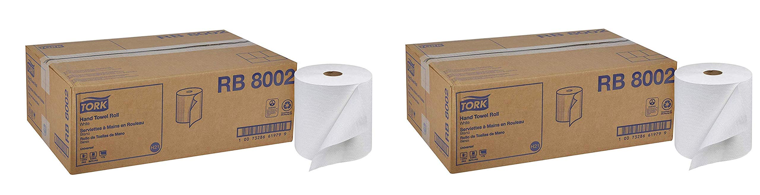 Tork Universal RB8002 Hardwound Paper Roll Towel, 1-Ply, 7.87'' Width x 800' Length, White (Case of 6 Rolls, 800 per Roll, 4,800 Feet) (Тwo Рack)
