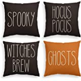 AVOIN Halloween Spooky Hocus Pocus Witches Brew Ghosts Throw Pillow Cover, 18 x 18 Inch Day of The Dead Cushion Case for…