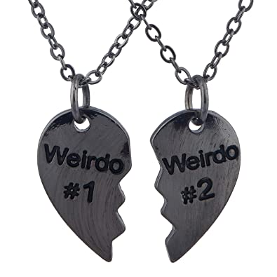 d0f5e17d51 Lux Accessories Black Weirdo 1 & 2 BFF Best Friends Heart Charm Necklaces  ...