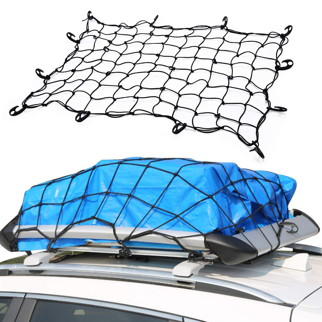ALAVENTE 100 x 100cm// 39.4 x 39.4 12 x Big Hooks Heavy Duty Cargo Carrier Net for securing Boxes,in Pickup Truck Bed Hitch Cargo Carrier and roof Luggage Rack Cargo Basket