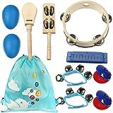 kilofly Kids Musical Instruments Band Rhythm Toys Value Pack [Set of 10], Blue
