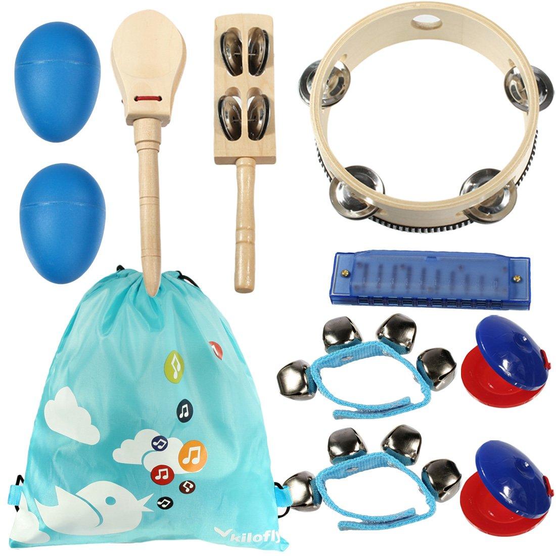 kilofly Kids Musical Instruments Band Rhythm Toys Value Pack Set of 10 Blue