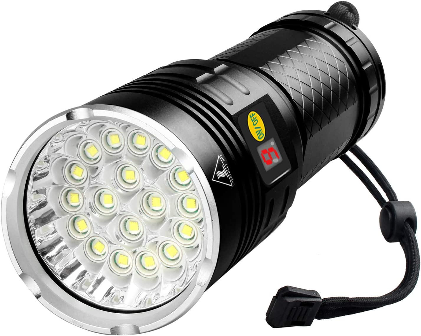 Woputne 18 LEDs Flashlight 10000 Lumen, Type-C Rechargeable