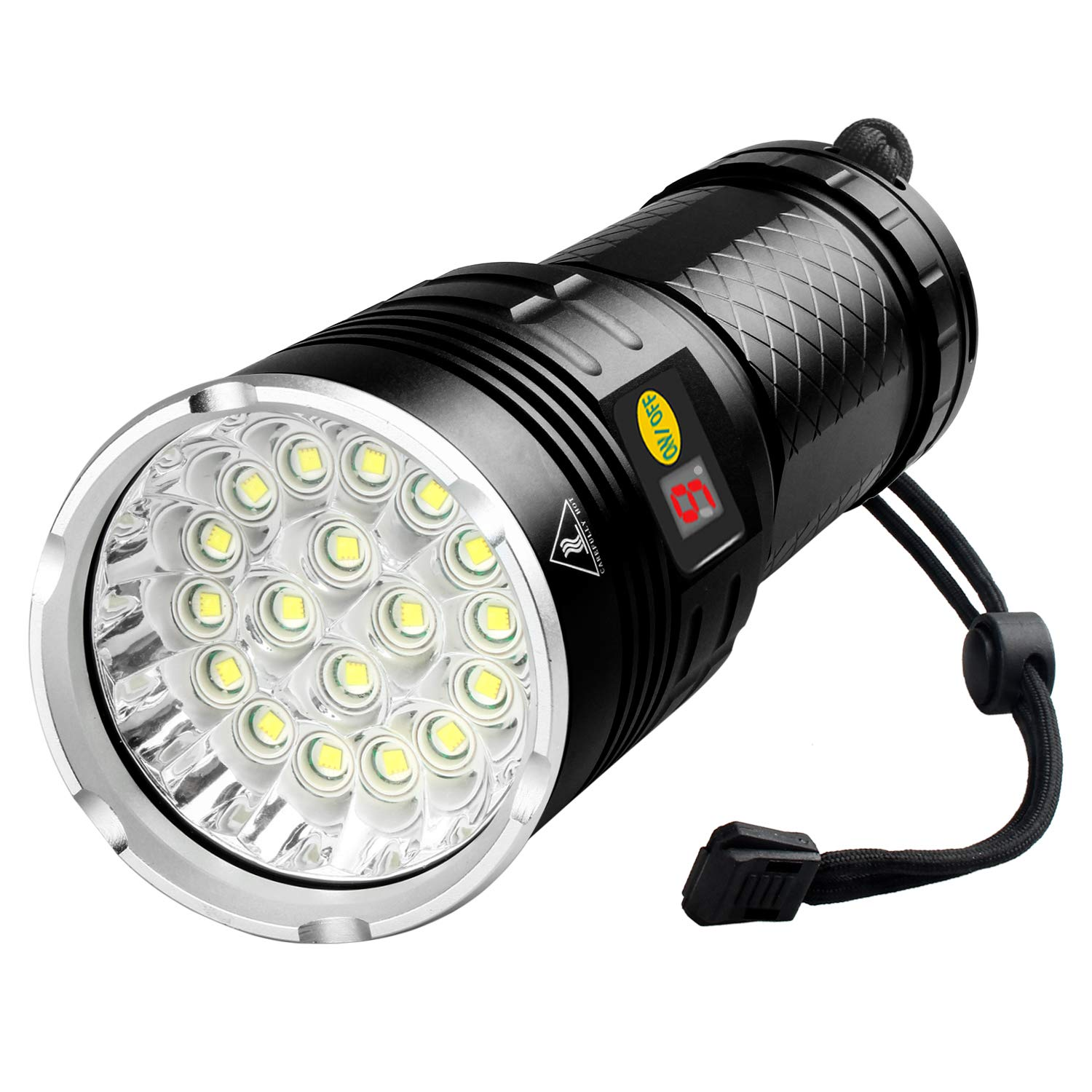 10000 Lumen Flashlight, 18 LEDs Super Bright, Power Display, Built-in battery, USB Rechargeable by Woputne