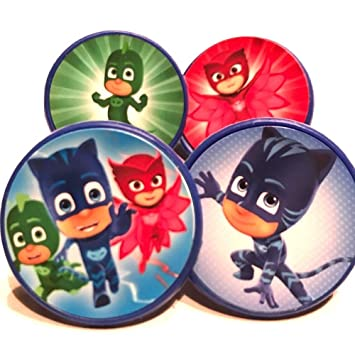 Image Unavailable Not Available For Color PJ Masks Cupcake Cake Toppers Rings Birthday