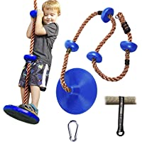 RedSwing Tree Climbing Rope with Platform and Disc Swing Seat, Children Tree Disc Swing Safety for Outside Inside, Bonus Hanging Strap & Carabiner, Blue