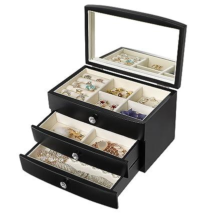 Amazoncom SONGMICS Jewelry Box Wooden Case Organizer with Large