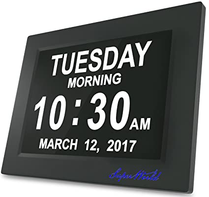 "SUPERWORLD® 8 ""Actualización - con función de alarma - Reloj Digital calendario día"