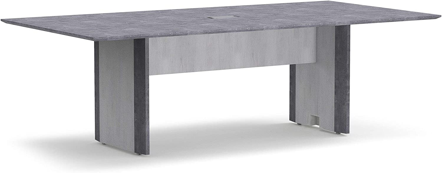 Forward Furniture 8' Conference Table - Commercial Grade - Office Table Seats 8-1 Wire Grommet - Stain, Scratch, Heat Resistant Top - Two Tone Stormy Gray/Ashwood White