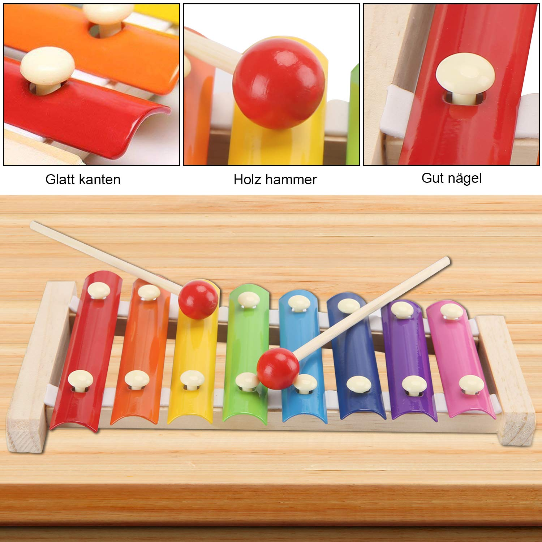 Xylophon Kinder Musikinstrumente Glockenspiel Musical Spielzeug Holz schlägel Kinderschlagzeug Pädagogische Geburtstag Weihnachten Holzspielzeug für Babys mit zwei kindersicheren hölzernen Schlägeln