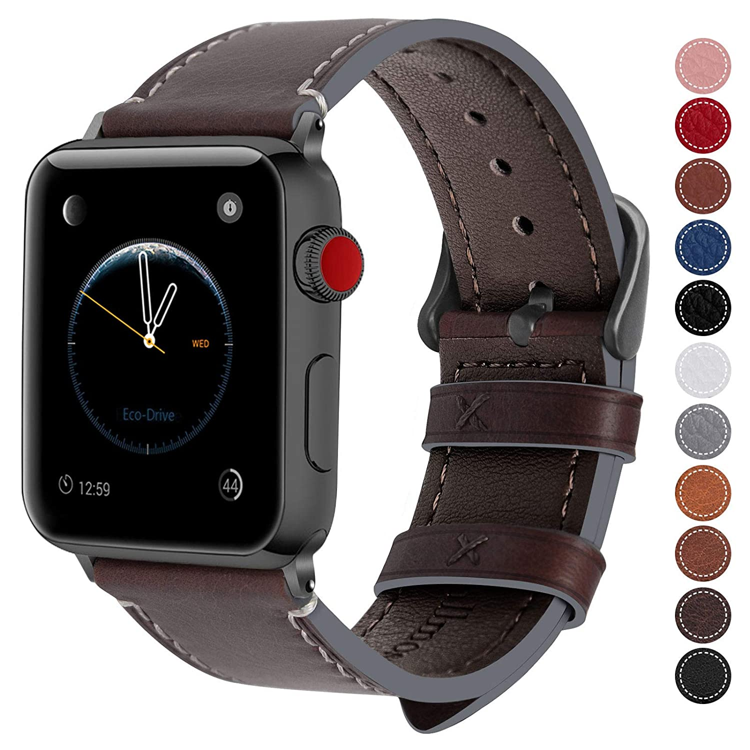 07f6702e8ba Amazon.com  Fullmosa Compatible Apple Watch Band 38mm 40mm 42mm 44mm  Genuine Leather iWatch Bands