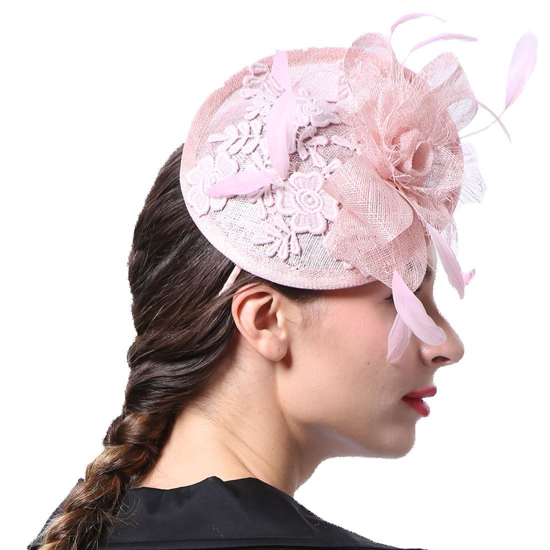 June  s Young Mujer - Tocado pelo joyas con plumas novia sombrero de joyas  para novia ocasión sombrero sombrero boda Rosa Talla única  Amazon.es  Ropa  y ... dcc9589e463