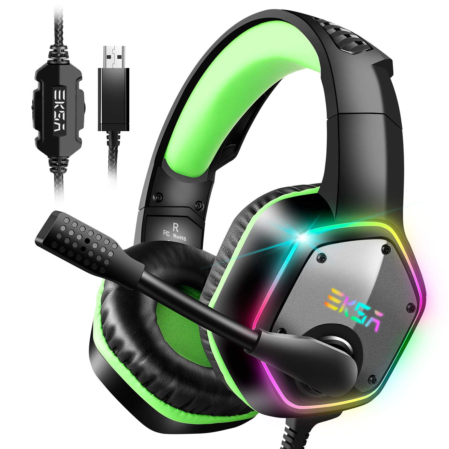 EKSA 7.1 Gaming Headset – Surround Stereo Sound – PS4 USB Headphones with Noise Canceling Mic RGB Light Over Ear Headphones, Compatible with PC, PS4 Console, Laptop Green