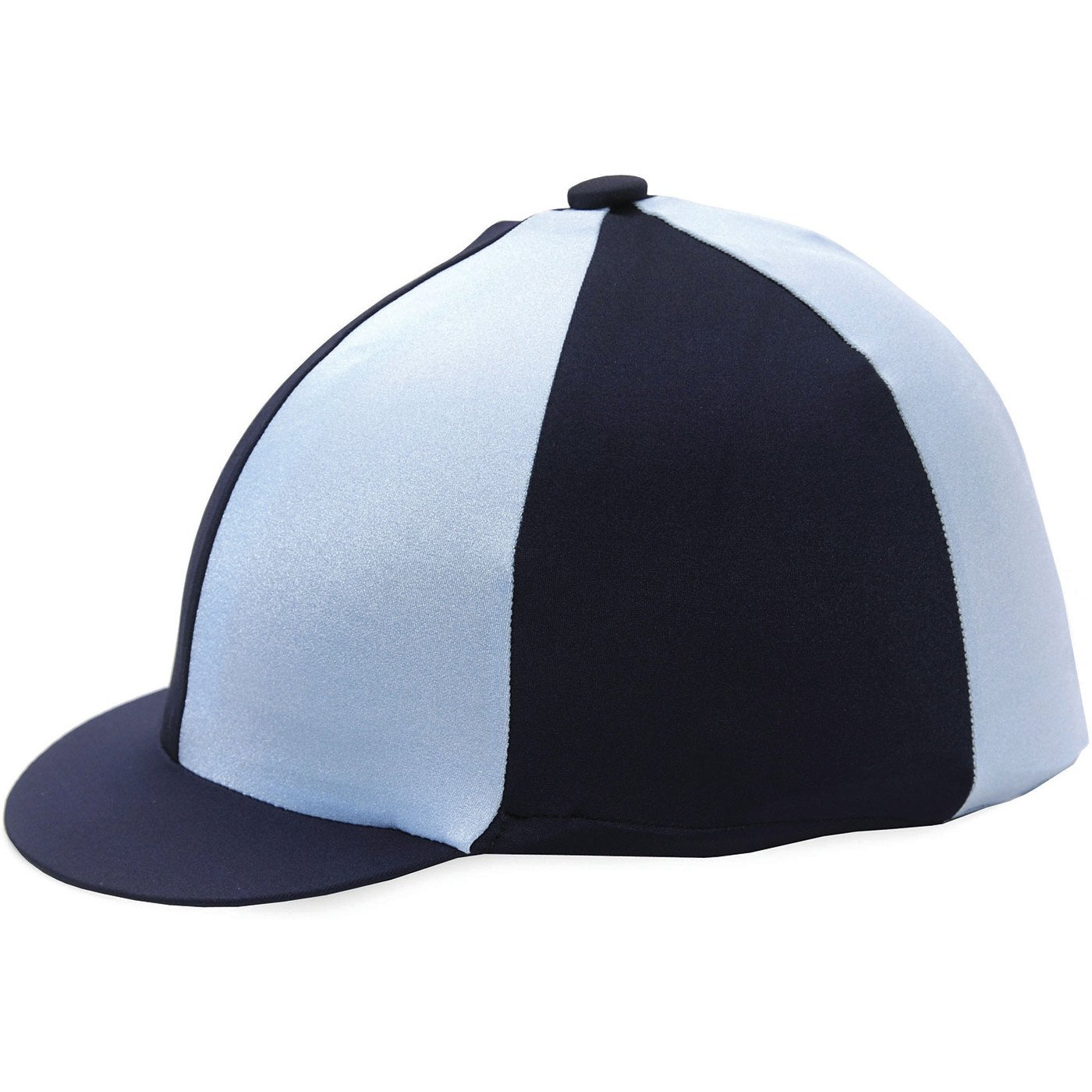 fd7f3d09fab3a HY Two Tone Navy and Pale Blue Lycra Riding Hat Silk