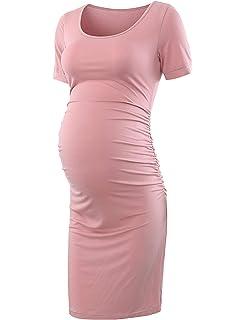 LEXUPA Women Fashion Solid Color Sleeveless Maternity Pregnat Comfortable Midi Dresse
