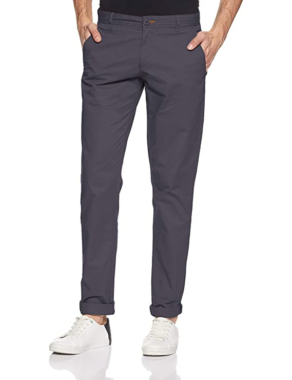 Ruggers by Unlimited Men's Slim Fit Chinos (276534960_CHARCOAL_32W x 33L)