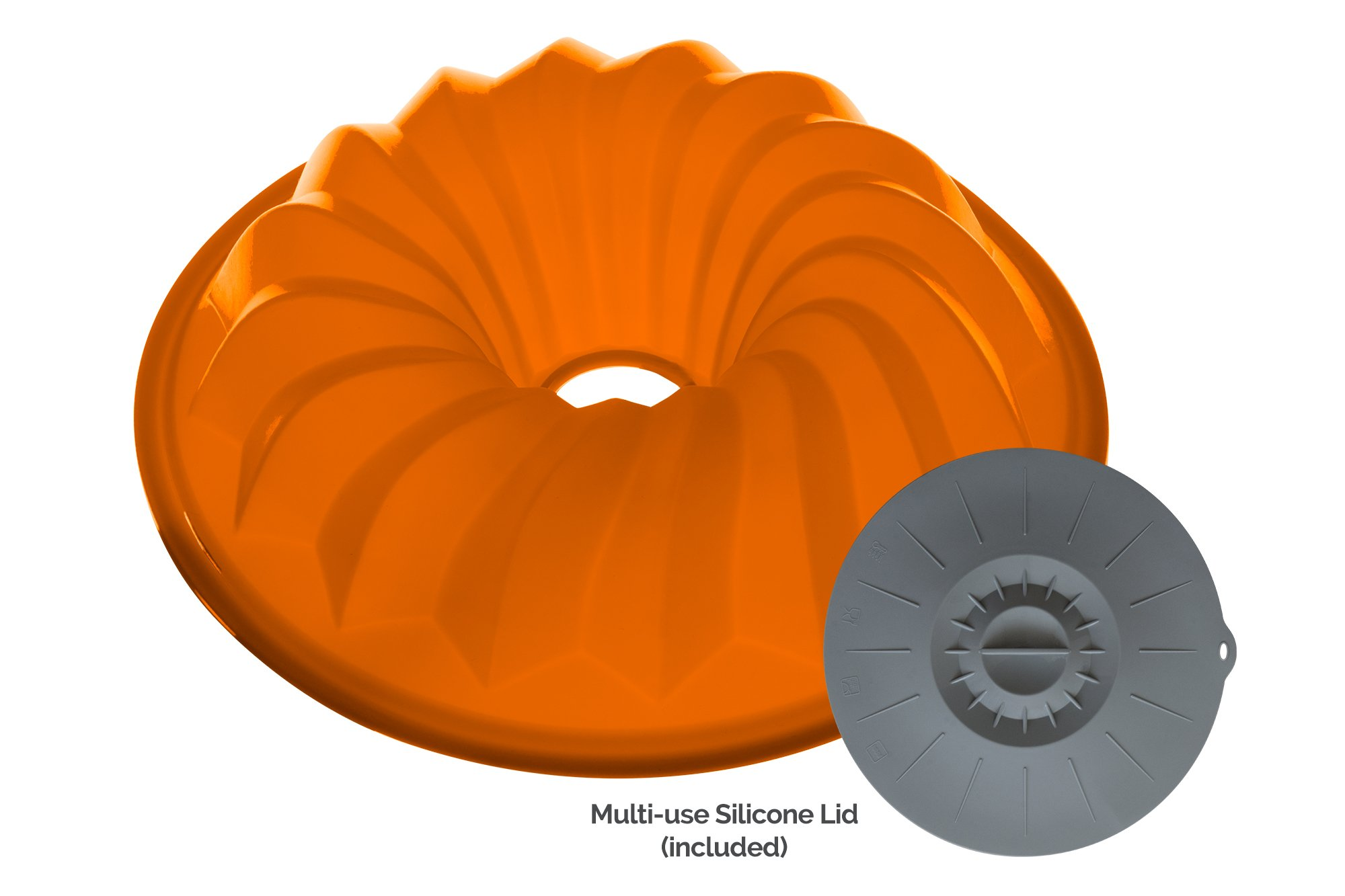 The Clever Cuisine Silicone Bundt Pan Spiral Gelatin (Jell-O) Cake and Flan Mold, Perfect Thickness to Keep Consistent Form 10.5 D X 2.5 H, and Lid