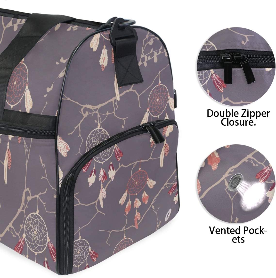 WIHVE Travel Duffel Bag Dream Catchers Gym Bag With Shoes Compartment