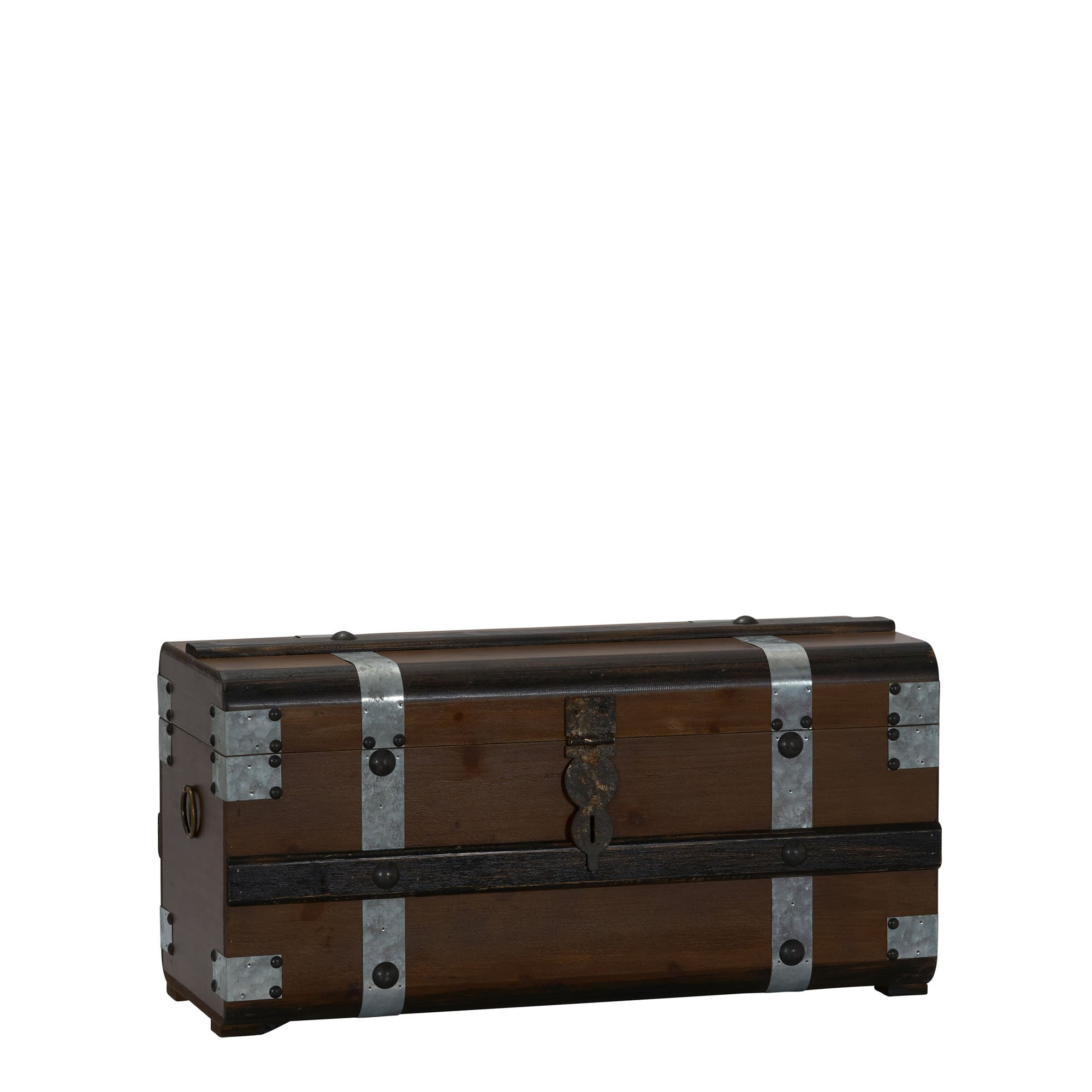 Household Essentials Steel Band Wood Storage Chest, Small, Brown