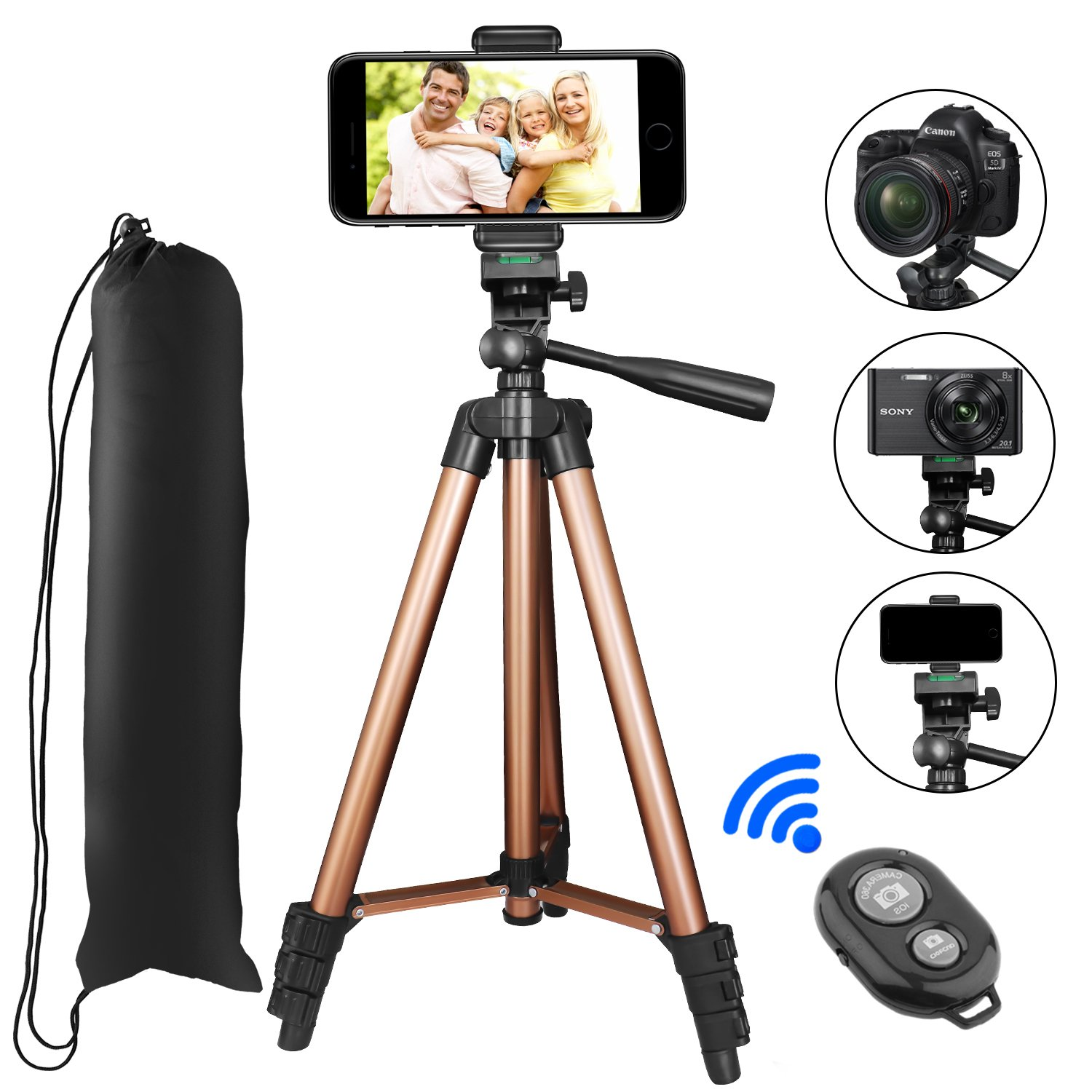 Tripod for iPhone, PEYOU 50'' Aluminum Camera Tripod+Bluetooth Wireless Remote Control Shutter+Universal Smartphone Holder Mount for iPhone X/8 Plus/8/7/7 Plus/6 Plus, Galaxy Note 8/S9 Plus/S9/S8/S7/S6