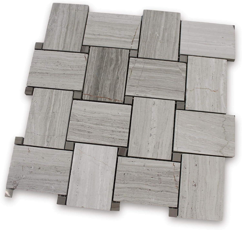 4.6 Square Foot Box Driftwood Chevron Marble Mosaic Tile
