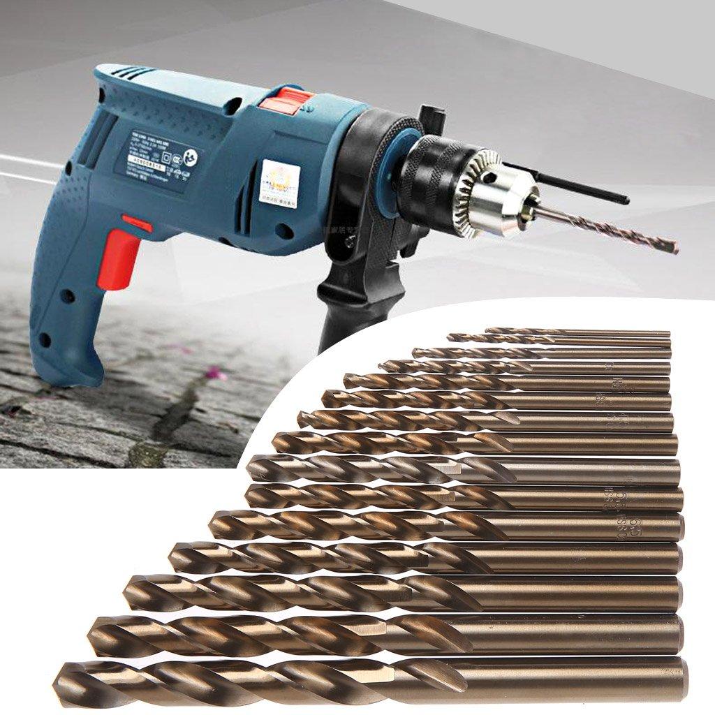 Longsw 15pcs Haute Vitesse Acier M35 HSS Cobalt Foret H/élico/ïdal Ensemble 1.5-10mm Outils /Électriques