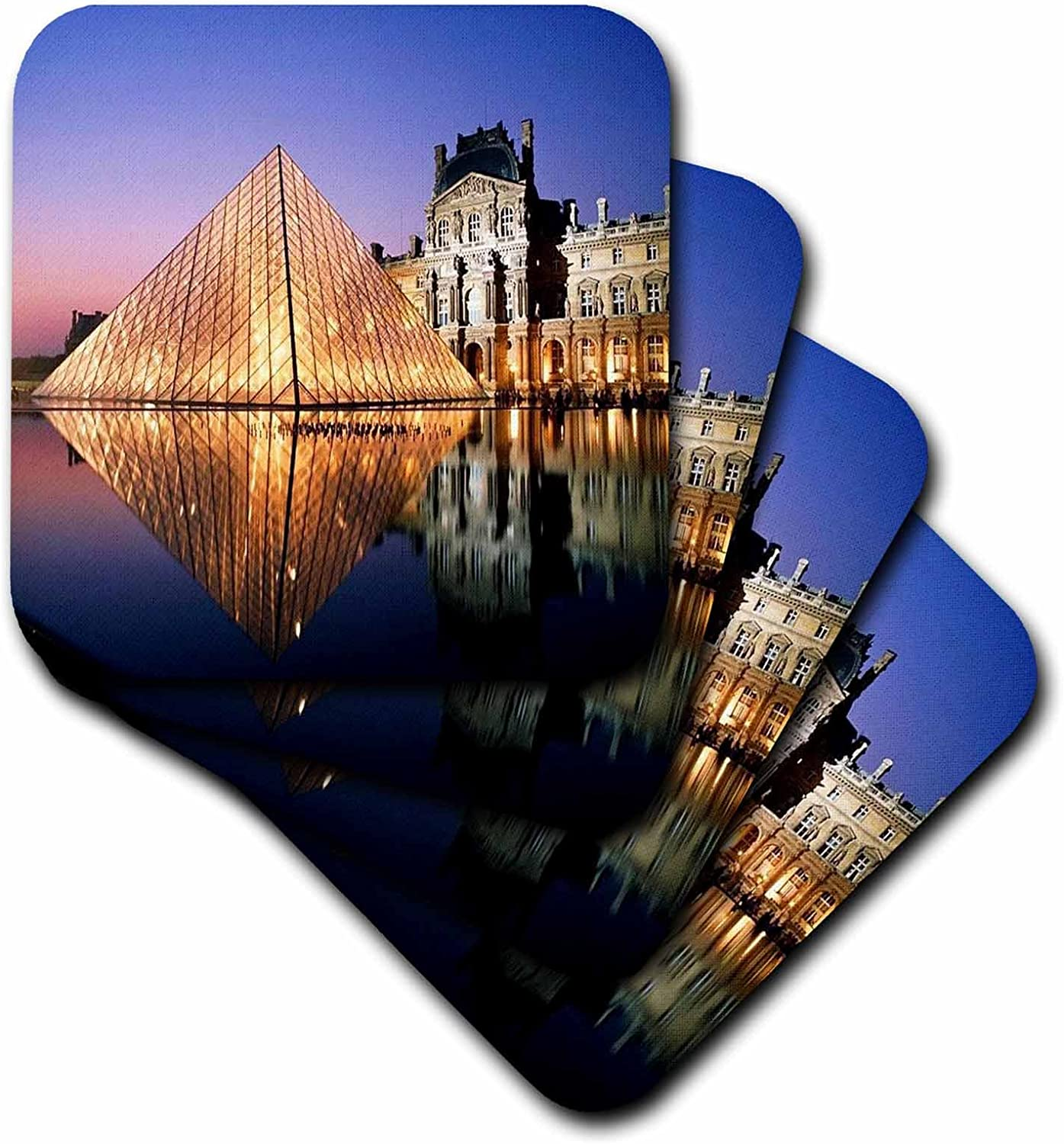 3dRose CST/_54198/_1 The Louvre at Night Soft Coasters Set of 4