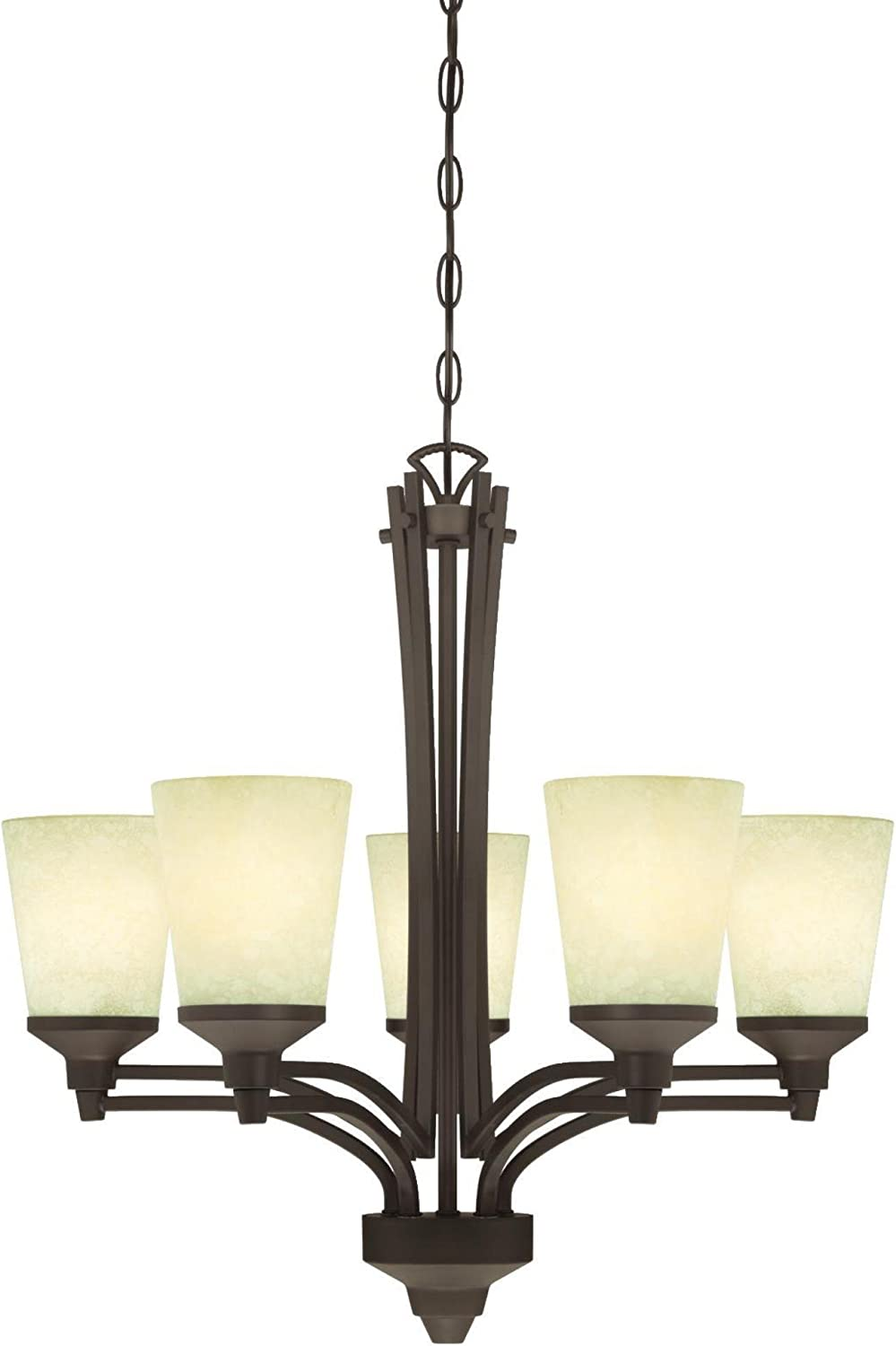 Westinghouse Lighting 6307100 Malvern Five-Light Indoor Chandelier, Oil Rubbed Bronze Finish with Smoldering Scavo Glass