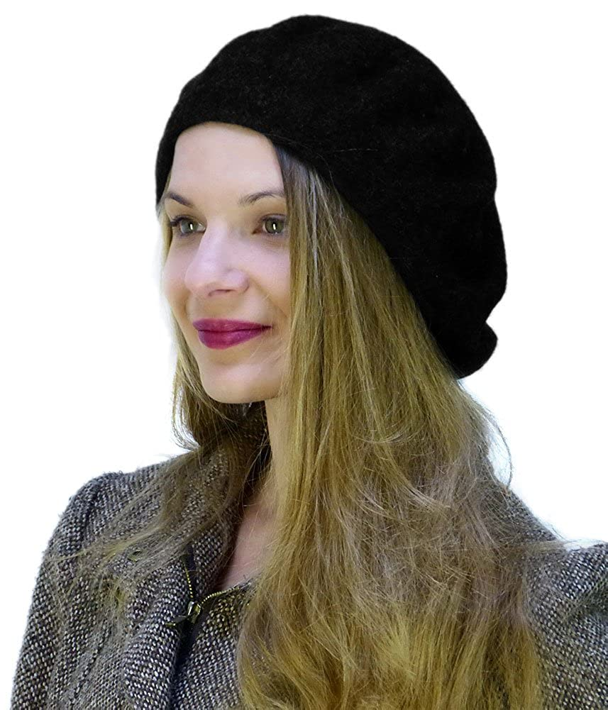 CoverYourHair Adult Size Wool Beret with a *Free* Pair of Black Magic Gloves