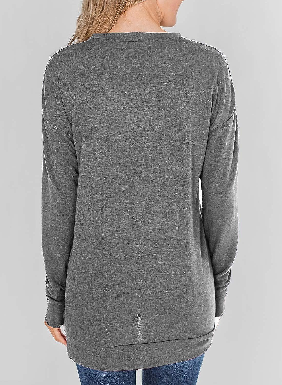 GOSOPIN Womens Casual Solid Crew Neck Pullover Tops Sweatshirt Zippers Tunics S-2XL