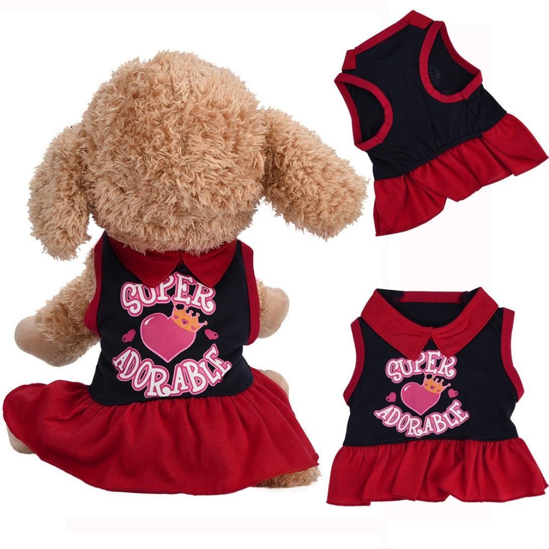 FimKaul Fashion Pet Vest Dress, Super Adorable Letter Print T-Shirt Dress Princess Dresses For Dog Cat (red, XS)