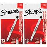 Sharpie 37001 Permanent Markers, Ultra Fine Point, Black Color, 2 Sets of 12 Markers, 24 Markers Total