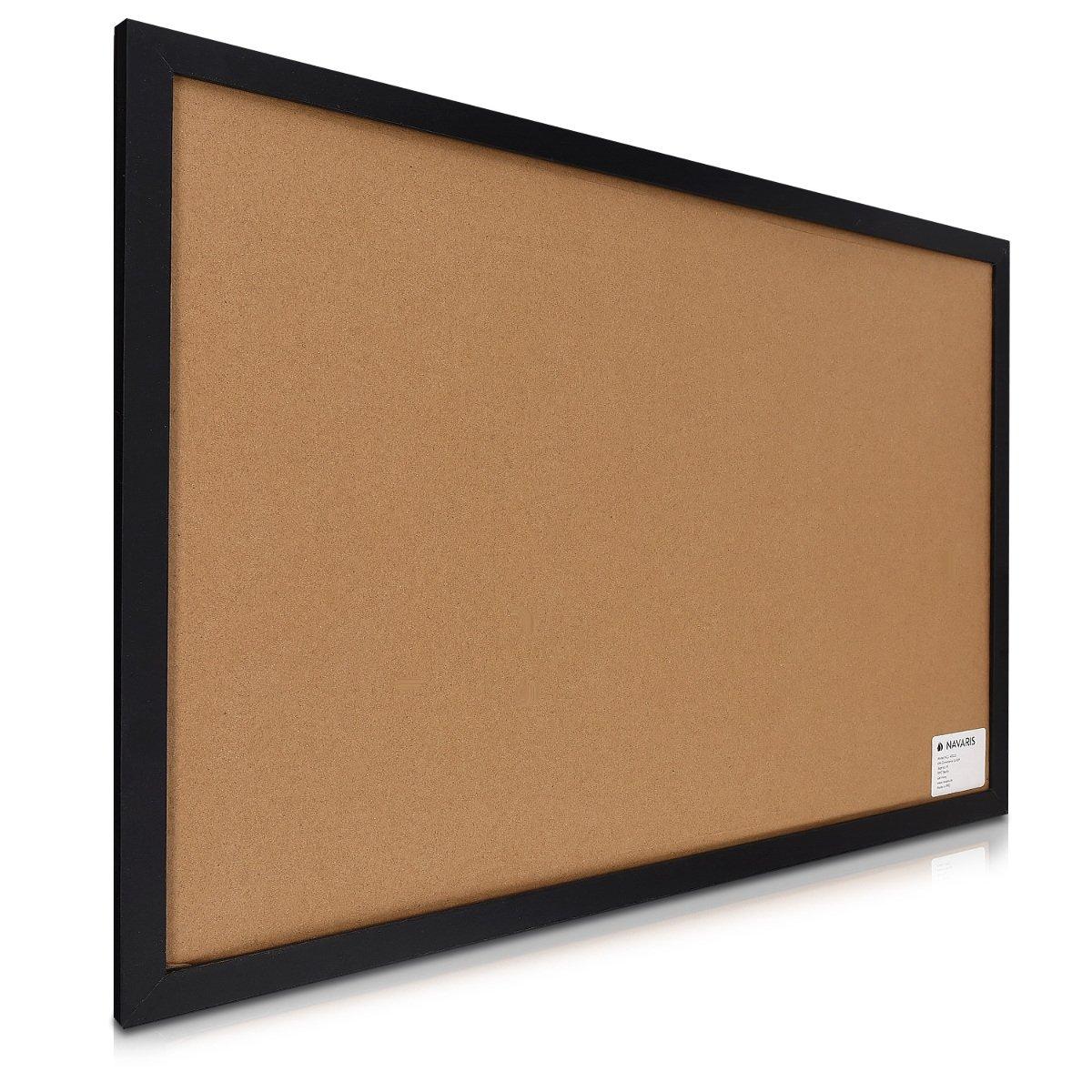 Memoboard 60x40 cm mit magnetischer Tafelfolie Korkwand Navaris Kombitafel aus Kreidetafel und Kork Pinnwand inkl Kreide Pins Magnete Halterung