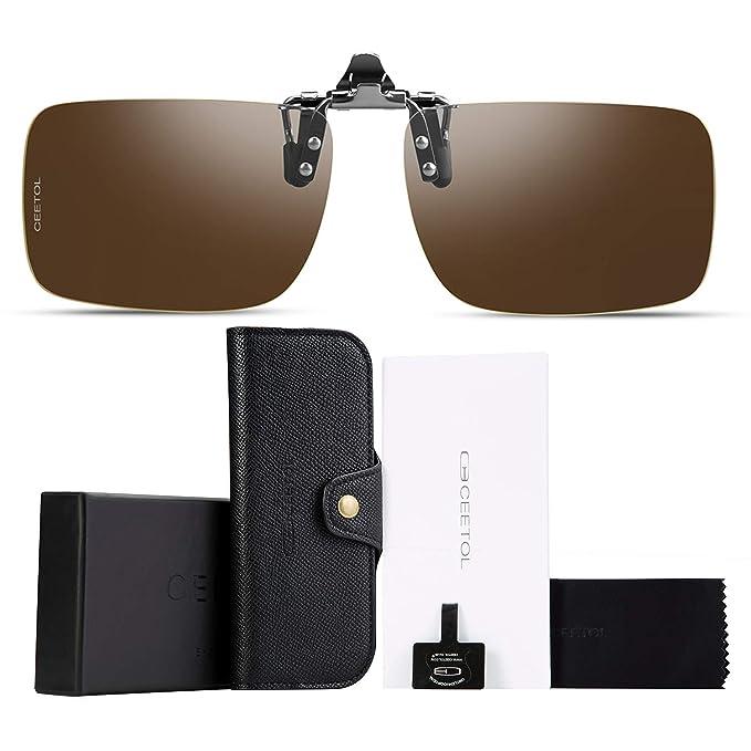 b9b3626161b Polarized Clip-on Flip Up Sunglasses Metal Frameless Over Prescription  Glasses Eyeglass
