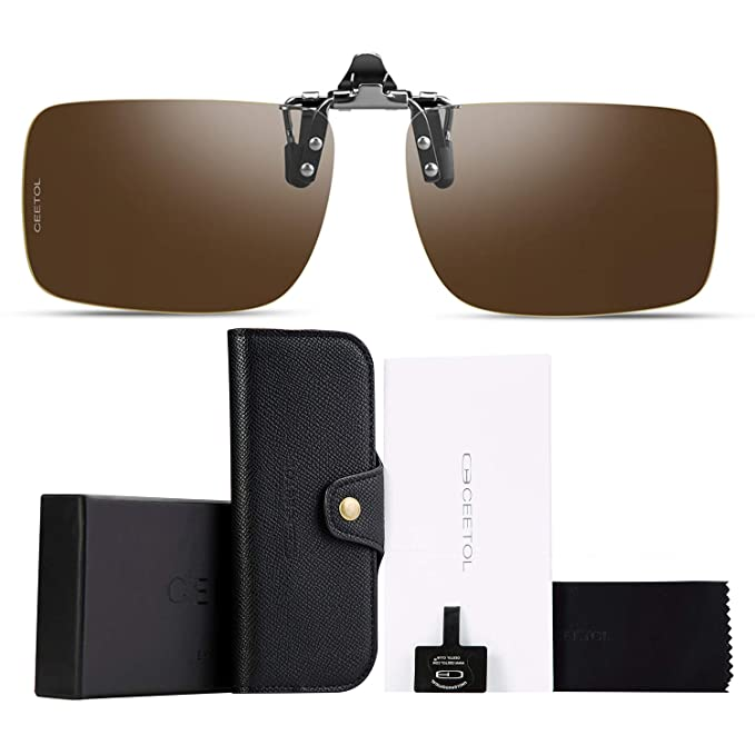 2ec2daad62 Polarized Clip-on Flip Up Sunglasses Metal Frameless Over Prescription  Glasses Eyeglass