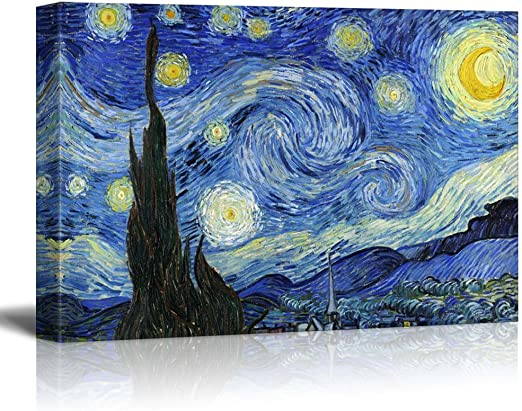 """Vincent Van Gogh art poster 24 x 36/"""" Starry Night With White Border Print"""
