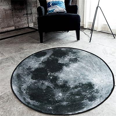 GWELL Living Room 31.5x31.5 Inch Bedroom Bathroom Fluff Carpet Fleece Area Galaxy Round Rug Pads Gray Moon