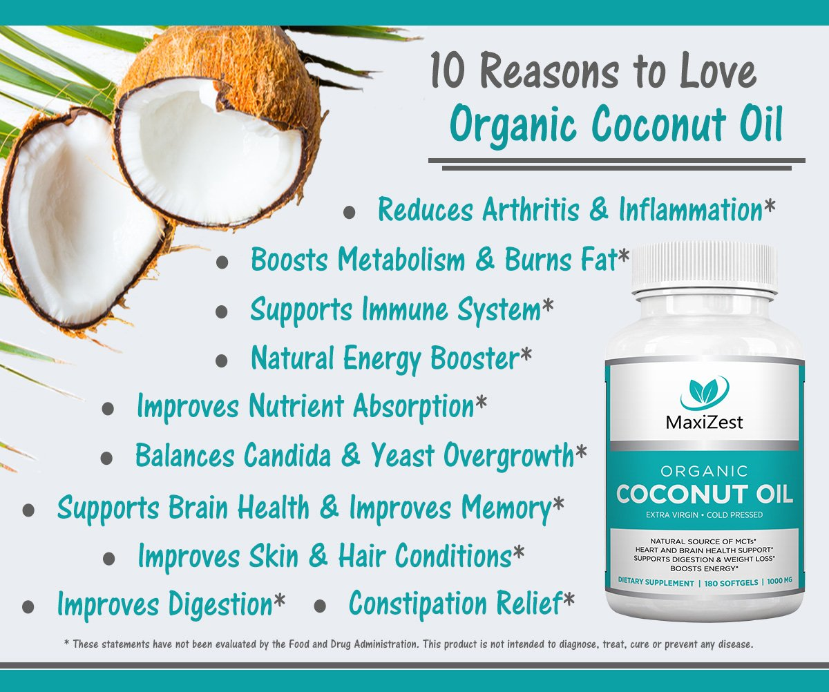Buy herbal coconut weight loss - Amazon Com Extra Virgin Organic Coconut Oil Capsules 1000mg Enhances Skin Hair Nails Supports Heart Brain Health Digestion Healthy Weight Loss