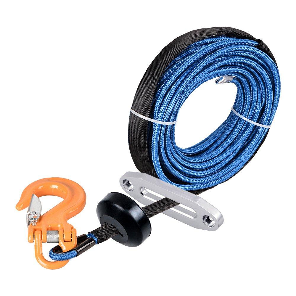 Anzio 1/4 x 50' Winch Cable Rope 7000+ LBs + Rock Guard Sheath + Hawse Fairlead + Stopper + Hoook (Green Winch + Red Hook, 3000lbs to 4000lbs) Winch + Hook + Stopper + Hawse Fairlead