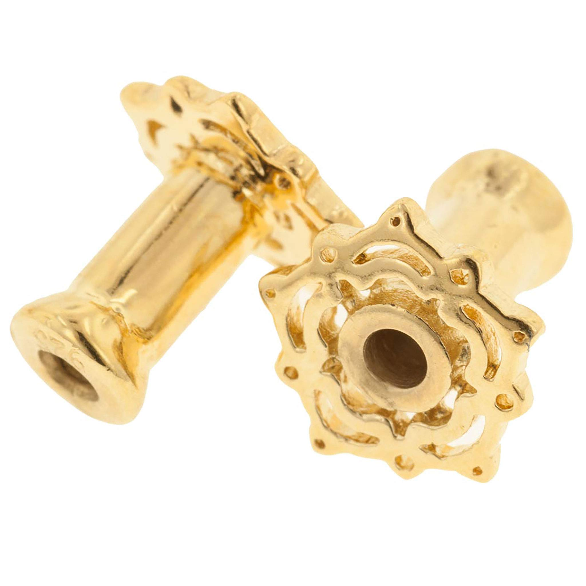 Steel Navel Body Jewelry Pair of Gold Plated Double Flared Lace Lotus Eyelets: 4g by Steel Navel Body Jewelry