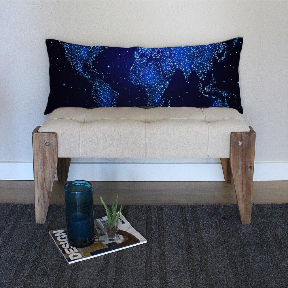20-Inch x 54-Inch DT-4 AILOVYO Galaxy World Map Machine Washable Silky Shiny Satin Decorative Body Pillow Case Cover