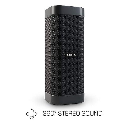 DOCKIN D Mate Haut-Parleur Bluetooth avec Power Bank, Son Ambient 360°, 16 Heures d'autonomie, Parfait pour l'extérieur, résistance à l'Eau IPX6, 25 Watts avec Fonction Stereo Link