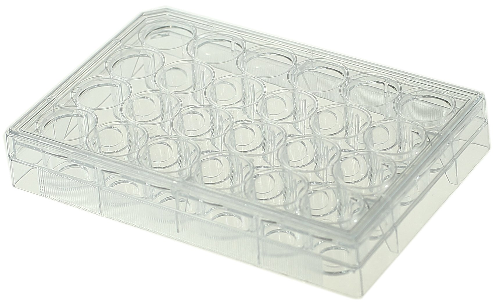 Nest Scientific 801006 Polystyrene/Glass 24 Well Glass Bottom Cell Culture Plate, 10 mm Diameter, Tissue Culture Treated, Sterile, Clear, 1 per Pack, 10 per Case (Pack of 10)
